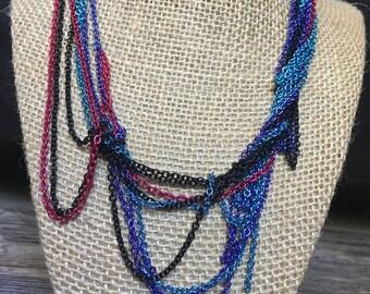 Neon Color Multi- Strand Chain Necklace