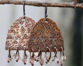 Handmade copper earrings, Copper jewelry, Dangle copper earrings, Crystal earrings Bee earrings Sterling silver hooks Gift Handmade earrings