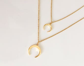 Horn Necklace, Gold Horn Necklace,- Boho Necklace, moon necklace,Tiny Horn Necklace,Pendant Necklace, Statement Necklace, Everyday Jewelry,