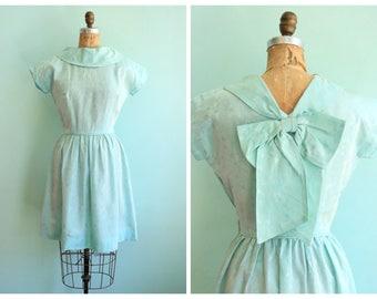Vintage 1950's Pastel Blue Floral Dress | Size Small