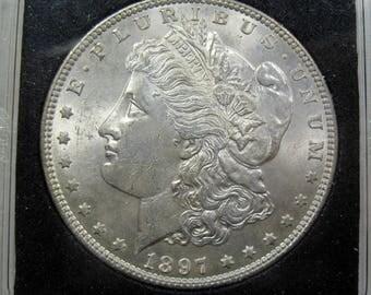 1897 silver Morgan dollar coin grades choice uncirculated (#E227g)