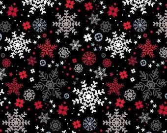 Snow Delightful Fabric Christmas Black Snowflakes Studio E Cotton Fabric