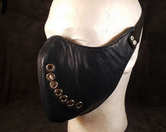 FREE SHIPPING! Natural dark blue leather motorcycle mask