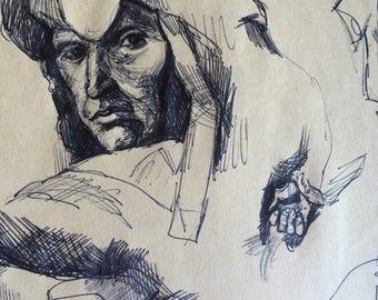 Vintage Art School Portfolio Page Pen and Ink Drawings St. Louis Artist Circa Early 1990s Unframed Unsigned Boho Outsider Abstract Surreal