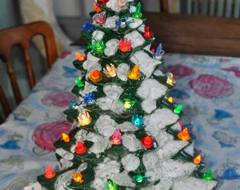 Large Beautiful Ceramic Christmas Tree With Poinsettia Base