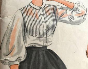 Elegant Vintage 1950 Poet's  Blouse Pattern---Vogue 7017---Size 16 Bust 34  UNCUT