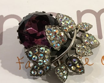Vintage 'Plum On The Branch' Scarf Clip/Simulated Amethyst Clear Glass Aurora Borealis Rhinestones/1960s/Unsigned