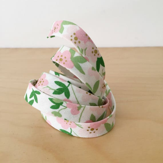 "Bias tape in Riley Blake Safari Party Metallic Pink Floral Cotton- 1/2"" Double-fold binding- 3 yard roll"
