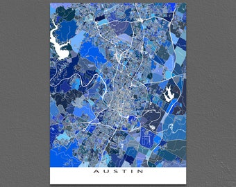 Austin Print, Austin Map Art, Austin Texas City Poster