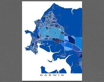 Darwin Map, Darwin Australia, City Map Art Prints