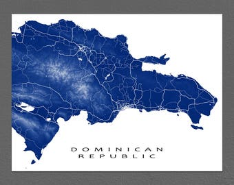 Dominican Republic Map Art Print Hispaniola Caribbean Island Prints