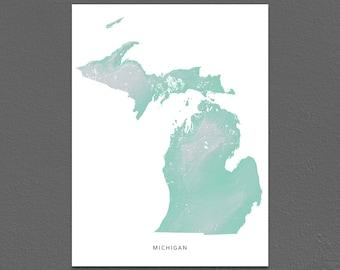 Michigan Map Print, Michigan State, Aqua, MI Landscape Art