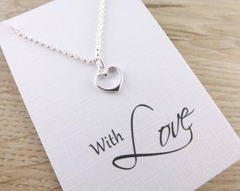 Sterling silver heart pendant~motivational necklace~inspiring pendant~ inspirational charm jewellery~inspiring silver heart charm necklace
