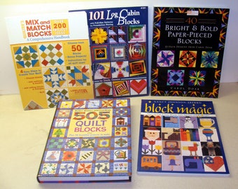 Quilt book lot-quilt book collection-quilt block books-quilting book-quilter book lot-paper pieced blocks-quilt block handbook-old quilts