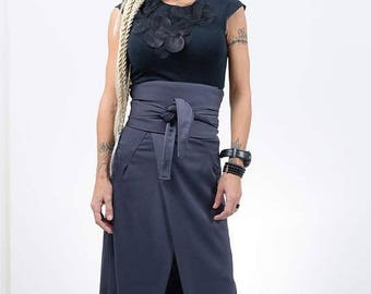 ON SALE Autumn Grey long skirt /Long high waist woman skirt / Maxi loose skirt for woman / Elegant woman skirt /Stylish grey skirt