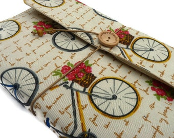 Vintage bicycle Book cover, Book Sleeve, Cloth Cover Books, bookish gift, Book pouch, Hardback book cover, Book lovers, bicycle fabric