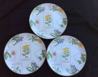 3 Tiffany & Co Botanical Salad Luncheon Plates