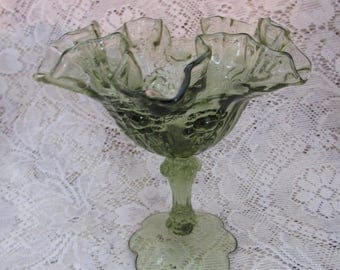 Fenton Green Rose Patterned Compote with Petal Base