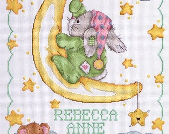 Moon Baby Birth Announcement Completed Cross Stitch, Baby Gift, Baby Cross Stitch, completed cross stitched