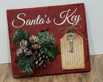 Santa Magic Key Sign Santa's Magic Key Sign Christmas Sign
