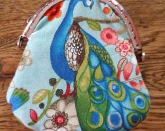 "Purse ""Peacock and flowers"" fabric"