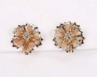 """1960's BED Double Layer Open Work Mesh, Articulated Petaled Flower Clip on Earrings, Excellent Cond., 1-1/4"""" Diameter, 3/8"""" Deep."""