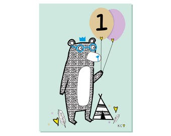 One Today Bear Birthday Card by Katie Cheetham