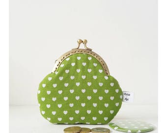 Green cotton clutch bag with hearts and mirror-gift Valentine's Day-purse for women-purses with Clasp