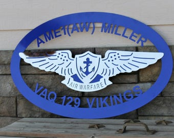 Custom Aviation Service Sign, Ships FREE in the US! Navy Retirement gift, US Navy sign, Navy air warfare custom sign, Navy Air sign