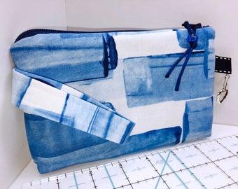 Blue Wristlet, Phone Case, Women's Small Wallet, Multi-Purpose Wristlet, HEAVILY Padded, Coupon Organizer, Zipper Pouch