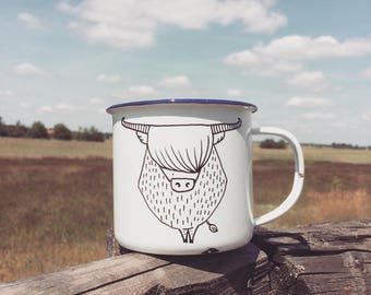 Enamel Camping Highland Cow Mug - hand painted illustrated quirky wild animal funny cute dish forest woods fauna scottish adventure gift