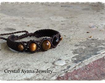 Macrame micro macrame brown bracelet  with Tiger Eye beads of stone.