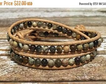 SUMMER SALE Leather Wrap Bracelet / Chan Luu Style Wrap Bracelet / Healing Crystal Bracelet / Chakra Bracelet