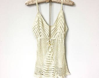 Hippie, Summer of Love, 1970s Style Crochet Camisole, Boho Festival Style Ivory Crochet Tank Top, Gypsy Style, Vintage, Spaghetti Strap Tank