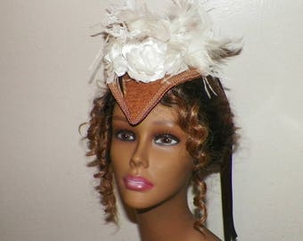 Fascinator Victorian Steampunk Hat Bridal Headdress Brown Ivory Color Gold Lolita Headpiece Old West  Marie Antoinette