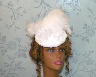 On Sale- White Hat Fascinator Victorian Retro Bridal Vintage Style Steampunk Lolita Bridal Headpiece Old West  Marie Antoinette