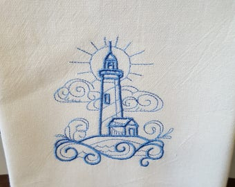 Blue embroidered flour sack towel, Lighthouse,  dish towel, machine embroidered cotton kitchen towel, decorative towel