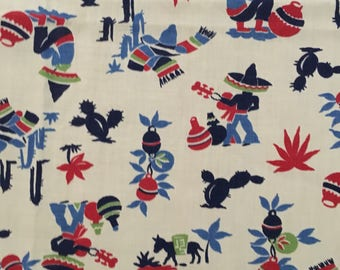 """34"""" x 35"""" vintage print  tablecloth"""
