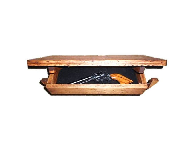 "18 1/2"" Wooden Wall Shelf Hidden Compartment"