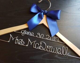 SALE 2 line Bride Hanger / Wedding Hanger, Personalized Hanger, Bridesmaid Bride Gift