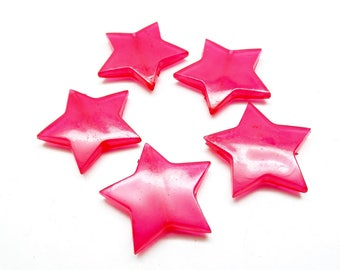 Set of 10 pink star beads, acrylic 28 * 5 mm