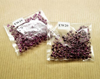 2 bags of 2x115 seed beads glass, transparent and purple, 4 mm