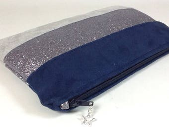 Flat clutch in suede Navy Blue and grey, with glitter grey steel
