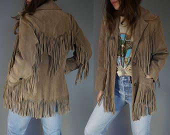 Vtg 70s Ms Pioneer Suede Fringe Leather Jacket || Pioneer Wear || Tan Beige Taupe Gray Leather Fringe || Southwestern Boho Festival Wear