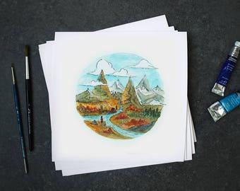 "Fine art print watercolor ""The Long Journey"""