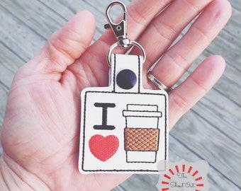 I Love Coffee Keychain, I Love Coffee Key Chain, I Love Coffee Keyfob, I Love Coffee Snap Tab, I Love Coffee Keyring, I Heart Coffee, Coffee