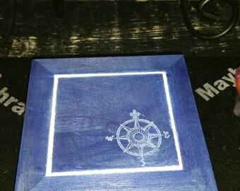 Rune Box, Hand Painted Wooden Nautical Rune Box, Jewelry Box, Storage or Display Container, Crystal Keepsake, Rune Box, Witch Box
