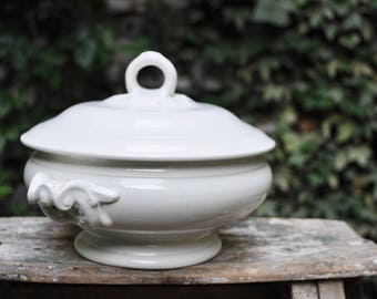 White Tureen with its lid LUNEVILLE /Antique French ironstone bowl / Vintage Tureen / French Antique Crockery