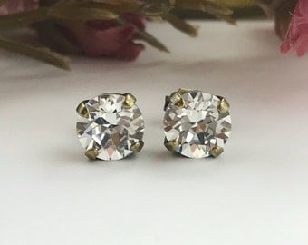 Swarovski Earrings, Clear Crystal Earrings, Crystal Studs, Antique Brass Studs, Simple Crystal Earrings, 8mm Studs, Everyday Earrings