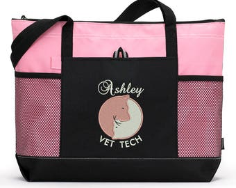 Veternarian, Vet Tech Embroidered Zippered Tote Bag With Mesh Pockets, Beach Bag, Boating